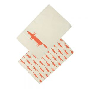 Scion Living Mr Fox Set of 2 Tea Towels - Stone