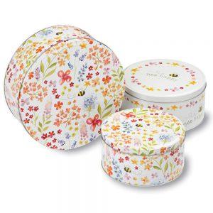 Cake Tins Set of 3 Bee Happy Design Cooksmart Cookie Biscuit Storage Gift Box-0