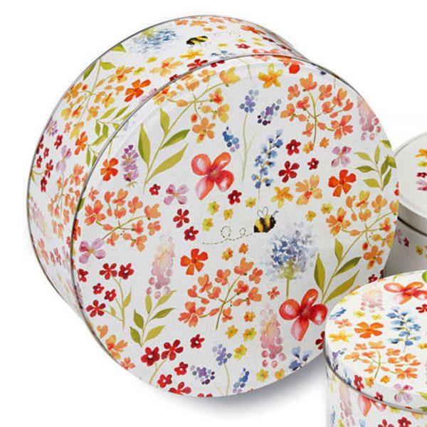 Cake Tins Set of 3 Bee Happy Design Cooksmart Cookie Biscuit Storage Gift Box-2164