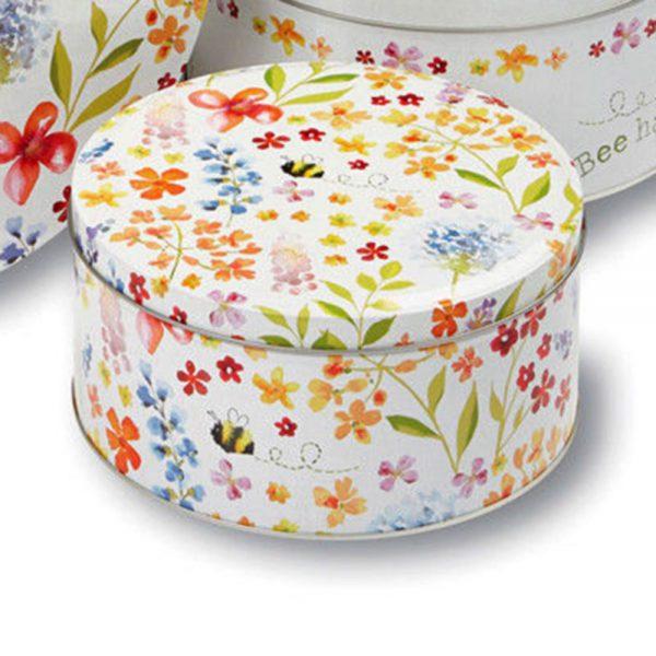 Cake Tins Set of 3 Bee Happy Design Cooksmart Cookie Biscuit Storage Gift Box-2163