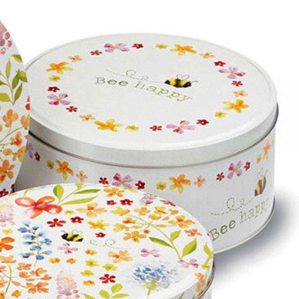 Cake Tins Set of 3 Bee Happy Design Cooksmart Cookie Biscuit Storage Gift Box-2162