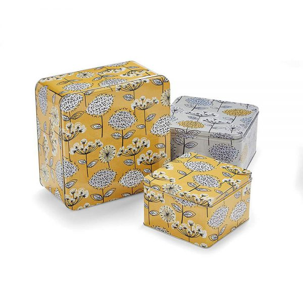 Cake Tins Set of 3 Retro Meadow Square Mustard from Cooksmart -0