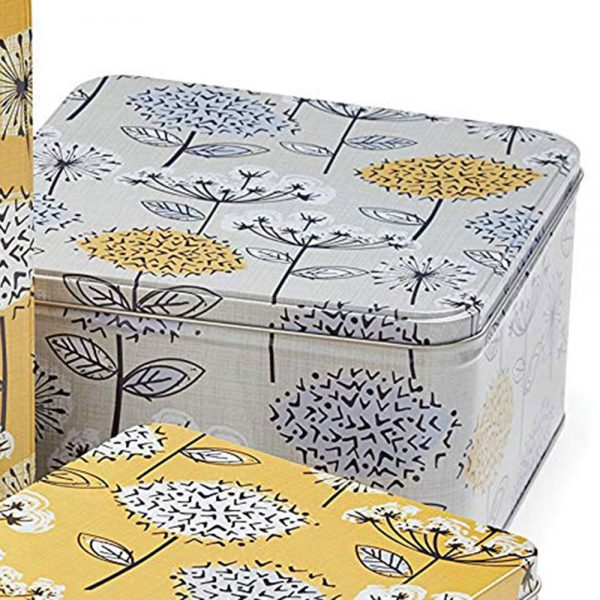 Cake Tins Set of 3 Retro Meadow Square Mustard from Cooksmart -2142