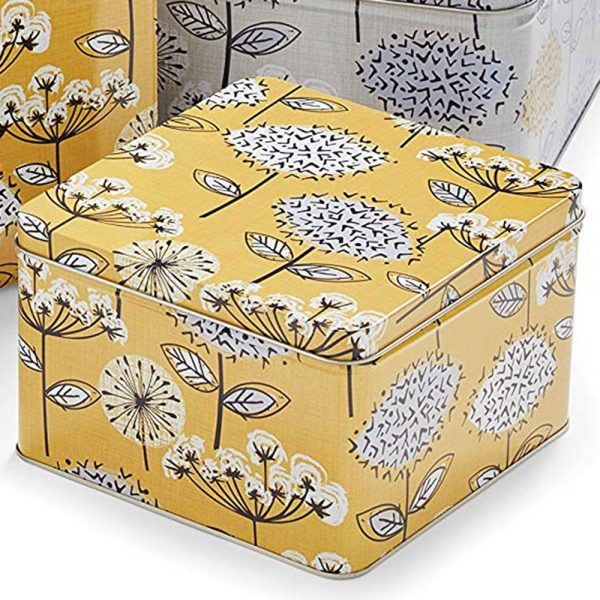Cake Tins Set of 3 Retro Meadow Square Mustard from Cooksmart -2143