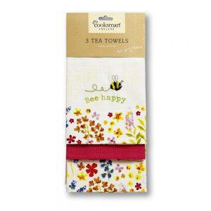 Tea Towels BEE HAPPY 3 Pack from Cooksmart -0