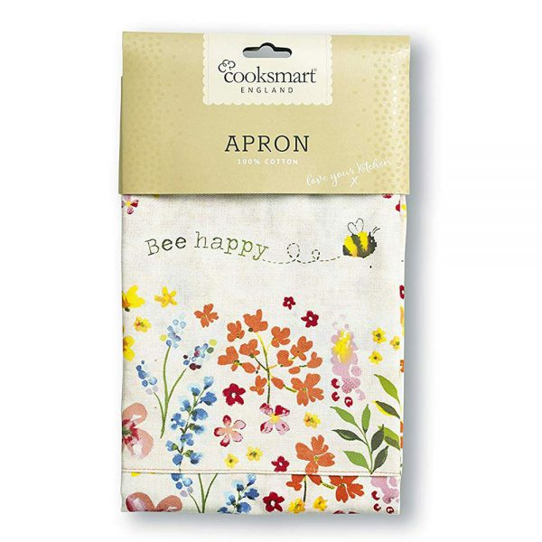 Adults Apron Cotton BEE HAPPY Design 100% Cotton from Cooksmart -82141