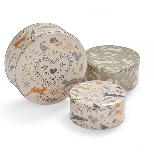 Set of 3 Round Nesting Cake Storage Tins - Assorted Woodland Animals Designs-0