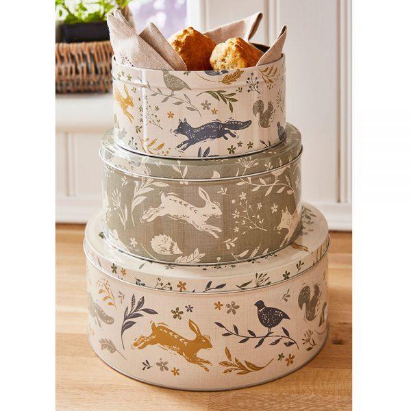 Set of 3 Round Nesting Cake Storage Tins - Assorted Woodland Animals Designs-2245