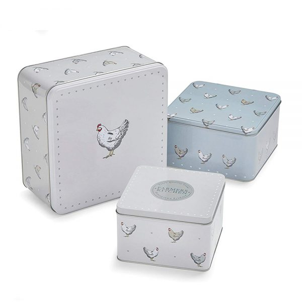 Square Cake Tins Set of 3 Farmers Kitchen Chickens Design by Cooksmart-0