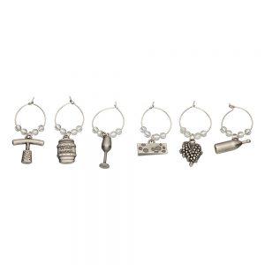 BarCraft Set of 6 Decorative Wine Charms-0