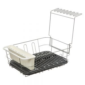 Dish Drainer with Removable Draining Tray Grey-0