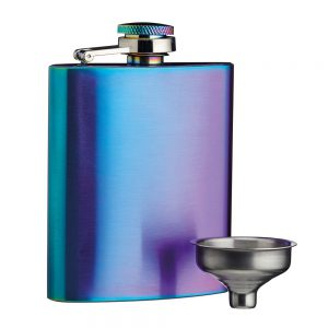Hip Flask Exotic Rainbow with Easy Pour Funnel by BarCraft-0