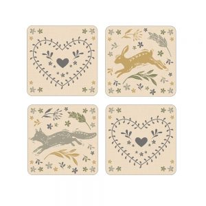 Pack of 4 Coasters Woodland Design by Cooksmart-0