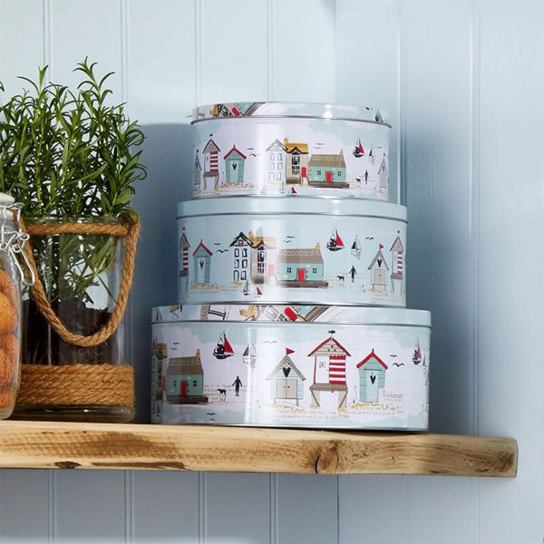 Set of 3 Round Cake Tins Beside the Seaside by Cooksmart-79801