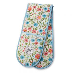 Double Oven Glove Country Floral Design by Cooksmart 100% Cotton Outer-0