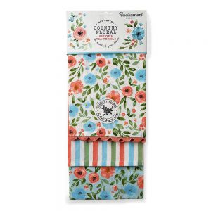 Pack of 3 Tea Towels Country Floral Cooksmart-0