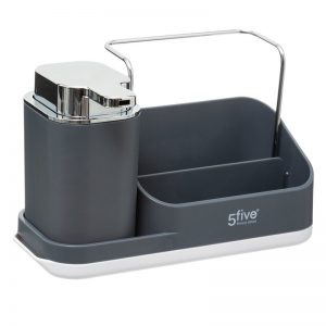 Grey Sink Tidy Caddy Organiser with lotion dispenser by 5Five Simply Smart-0