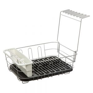 Dish Drainer with Removable Draining Tray Black-0