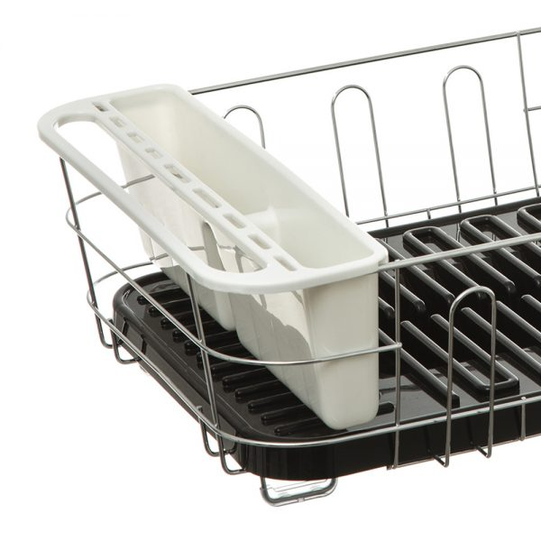 Dish Drainer with Removable Draining Tray Black-79913