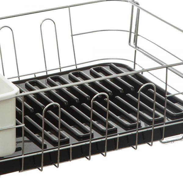 Dish Drainer with Removable Draining Tray Black-79915