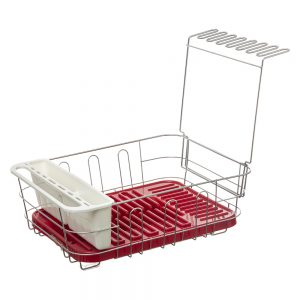 Dish Drainer with Removable Draining Tray Red-0