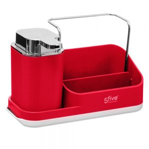Red Sink Tidy Caddy Organiser with lotion dispenser by 5Five Simply Smart-0