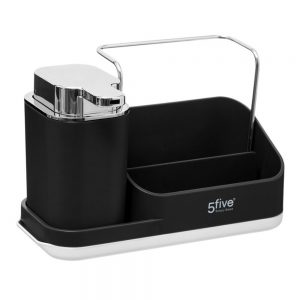 Black Sink Tidy Caddy Organiser with lotion dispenser by 5Five Simply Smart-0