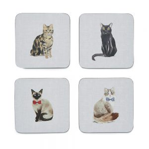 Pack of 4 Coasters CURIOUS CATS Design by Cooksmart-0