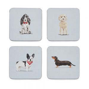 Pack of 4 Coasters CURIOUS DOGS Design by Cooksmart-0