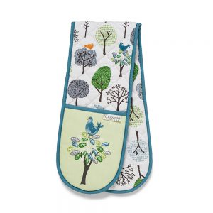 Double Oven Glove FOREST BIRDS Design by Cooksmart 100% Cotton Outer-0