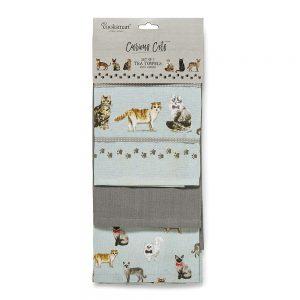 Set of 3 Tea Towels Curious Cats Design by Cooksmart-0