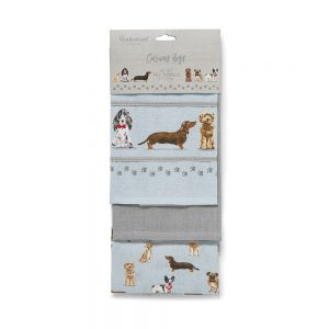 Tea Towels Curious Dogs Multi-Colour Pack of 3 from Cooksmart -0