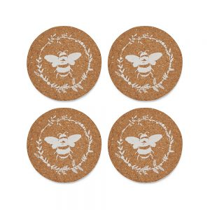 Set of 4 Cork Coasters Bumble Bees design by Cooksmart-0