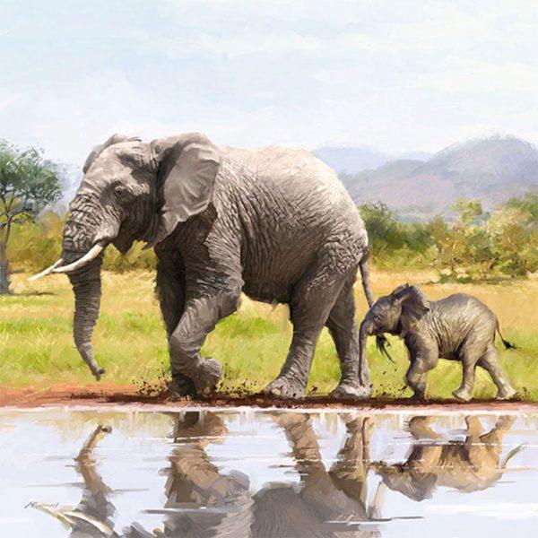 Luxury Paper Napkins Elephants 33x33cm by Ambiente-0