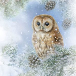 Luxury Paper Pack of 20 Napkins Christmas Tawny Owl 33x33cm by Ambiente-0