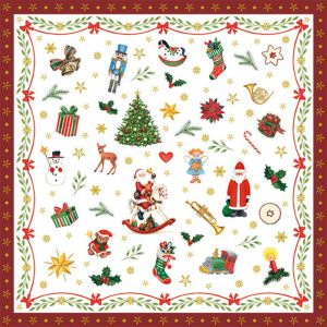 Luxury Paper Pack of 20 Napkins Christmas Ornaments All Over 33x33cm by Ambiente-0