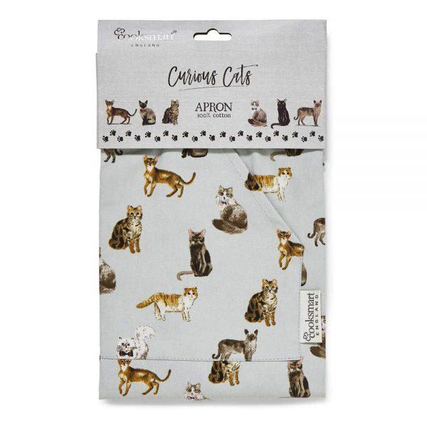Cotton Apron Sage Curious Cats design Cooksmart-81587